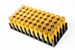 Box of 50 pieces of 9 mm pistol ammunition - black plastic container stock photo