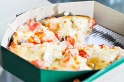 A box of pizza. A box of seafood pizza Royalty Free Stock Photo