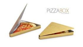 Box of pizza slice isolated white, 3d Illustration.  Royalty Free Stock Image