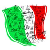 The box from pizza Italian flag covered with pictures with pizza. The box from pizza a type of the Italian flag covered with pictures with pizza royalty free illustration