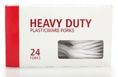 Box of Plastic Forks Royalty Free Stock Images