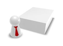 Box and play figure with tie Royalty Free Stock Image