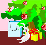 A box, a pocket and a toy. The gifts for Christmas. Gifts under the Christmas tree stock illustration