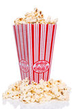 Box of Popcorn. On a white background stock images
