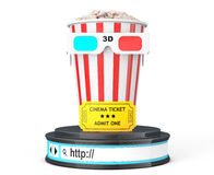 Box of Popcorn, 3D Glasses and an Admit One ticket over Browser. Address Bar as Round Platform Pedestal on a white background. 3d Rendering Royalty Free Stock Images
