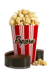 Box of popcorn and film Royalty Free Stock Photo