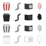 Box with popcorn, film, cd-disk, sweet cotton. Film and cinema set collection icons in cartoon black monochrome outline. Style vector symbol stock illustration Stock Photo