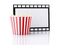 Box of popcorn and film reel. 3d illustration. Image of Box of popcorn and film reel. cinematography concept. 3d illustration Stock Photo