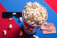 Box of popcorn, glasses and tickets Royalty Free Stock Photo
