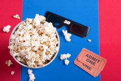 Box of popcorn, glasses and tickets. Box of popcorn, glasses and ticket Royalty Free Stock Photos