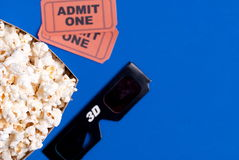 Box of popcorn, glasses and tickets. Box of popcorn, glasses and ticket Stock Photos