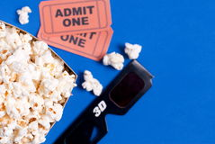 Box of popcorn, glasses and tickets. Box of popcorn, glasses and ticket Stock Image