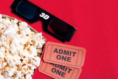 Box of popcorn, glasses and tickets. Box of popcorn, glasses and ticket Royalty Free Stock Photography