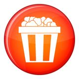 Box of popcorn icon, flat style Royalty Free Stock Photo