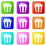 Box of popcorn icons 9 set Royalty Free Stock Photography