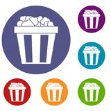 Box of popcorn icons set. In flat circle reb, blue and green color for web Royalty Free Stock Photo