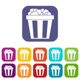 Box of popcorn icons set. Vector illustration in flat style in colors red, blue, green, and other Stock Photography