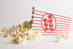 Box of popcorn. A box of popcorn on its side Royalty Free Stock Images