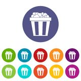 Box of popcorn set icons. In different colors isolated on white background Stock Photo