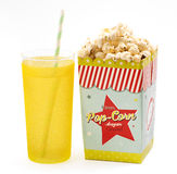 Box of popcorn with a soft drink Royalty Free Stock Image