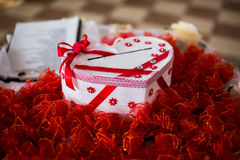 Box of postcards, wedding table, candy boxes, candy, decorated table Royalty Free Stock Images