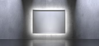 Box Poster And Light On Concrete Surface. 3D Rendering Of Interior Background With Box Poster And Light On Concrete Surface With Reflections Stock Photos