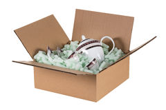 Box prepared for a delivery, with glass royalty free stock photography