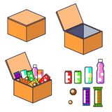Box with products vector clip art. stock illustration
