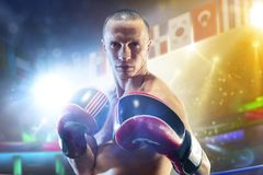 Box professional figters on the ring royalty free stock photography