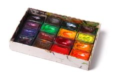 Box of professional water-color paint Royalty Free Stock Photo