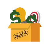 Box with projects icon. Flat design box with projects icon  illustration Stock Image