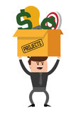 Box with projects icon. Flat design box with projects icon  illustration Royalty Free Stock Photo