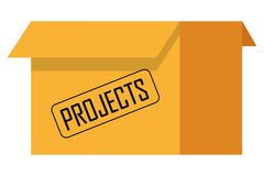 Box with projects icon. Flat design box with projects icon  illustration Royalty Free Stock Images