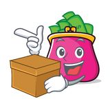 With box purse character cartoon style. Vector illustration Stock Image