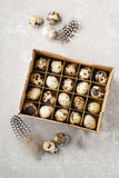 Box of quail eggs. Easter decoration royalty free stock image