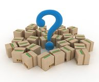 Box with question mark. 3d illustration on white Stock Photo