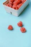 Box of raspberries Royalty Free Stock Photo