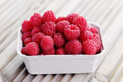 Box of raspberries Royalty Free Stock Photo