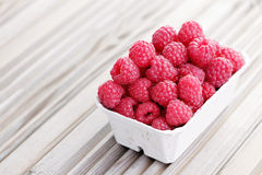 Box of raspberries Stock Photography