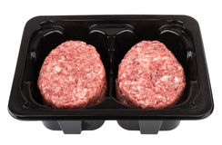 Box with raw meatballs of ground beef Royalty Free Stock Photography