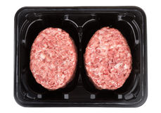 Box with raw meatballs of ground beef Stock Photo