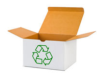 Box with recycling sign. Isolated on white background Royalty Free Stock Image