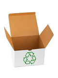 Box with recycling sign. Isolated on white background Royalty Free Stock Images