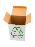 Box with recycling sign. Isolated on white background Stock Photo