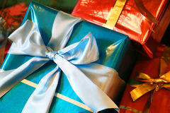 Box of red and the blue present. Box with ribbon of red and the blue present Stock Photos