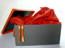 Box with red dress Royalty Free Stock Photo