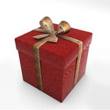 Box red gift in tiger. 3d render of box red gift in tiger fur tape  on white background Royalty Free Stock Images