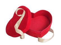 Box red heart and golden ribbon Stock Photos