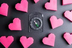 Box red heart shape and compass on black background with copy sp. Ace.Valentine& x27;s Day, Day of love Royalty Free Stock Image