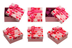 A box with red hearts. Valentines Day concept. Isolated, white background Stock Photography